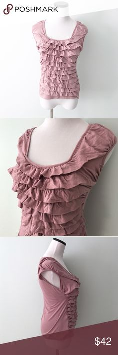 """Anthropologie DELETTA Mauve pink ruffle Top Pink mauve ruffled tiered top. No damage, normal wash wear. Length 24"""". Chest 17"""". Pima cotton and modal. Anthropologie Tops"""