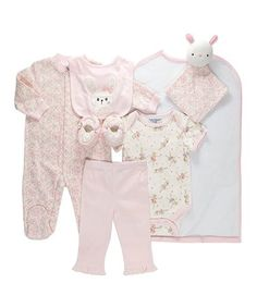 Take a look at this Pink & White Bunny Footie Set - Infant on zulily today!