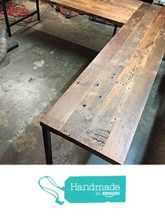 L Shaped Desk - Reclaimed Wood with Metal Base from Guice Woodworks https://www.amazon.com/dp/B015HSS9TI/ref=hnd_sw_r_pi_dp_RSH8wbFDB0B53 #handmadeatamazon