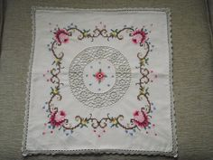 Hand made and embroidered cushion cover by WhiteLinenplus on Etsy, €25.00