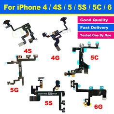 New High Quality Original for iPhone 4 4S 5 5G 5S 5C 6 6G Power Button Switch Connector On Off Flex Cable Ribbon Replacement