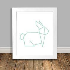 Bunny Nursery Art Geometric Art Origami Bunny Rabbit Mint Nursery Art Animal Nursery Art Printable Art Downloadable - 8x10 11x14