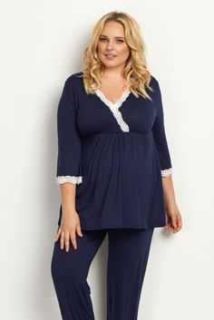 Navy-Blue-Lace-Trim-Plus-Size-Pajama-Top. A maternity pajama top designed for the most comfortable fit in an incredibly soft material specially for you and your growing bump. Even after giving birth, a draped v-neckline is convenient for nursing.$28