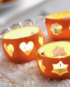 Подсвечники из апельсина для чайной свечи.