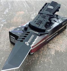 U.S. MARINES Knife Licensed USMC MARINES Assisted Military Knives BLACK Tactical Tanto Knife * For more information, visit image link.