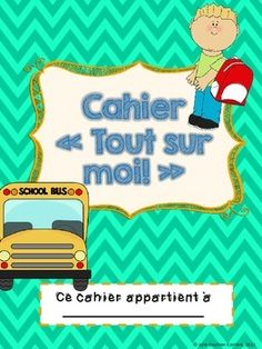 French /francais All about me booklet - Cahier Tout sur moi All About Me Booklet, Back 2 School, Voici, Father, Reading, Boutique, Socialism, Small Notebook, Words