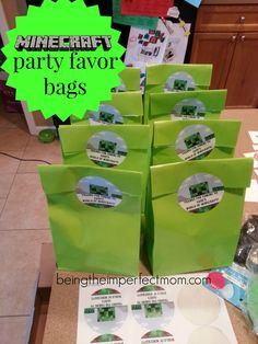 Minecraft birthday party favor bags with free printables http://www.beingtheimperfectmom.com/minecraft-birthday-party/ #Minecraft #printables #freeprintables