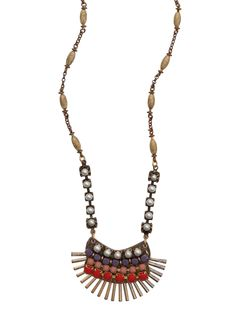 Red, pink and lilac colored glass beads and a row of pearls sit atop a fan finding in matte and antiqued gold-plated. Assorted colored glass and pearl beads run along the gold-tone chain that adjusts from 15 to 18.