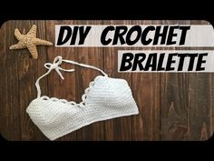 DIY Crochet Top: Leonis Bralette by Amanda Luisa and found on You Tube Top Tejidos A Crochet, Diy Crochet Top, Pull Crochet, Crochet Summer Tops, Crochet Lace, Crochet Halter Tops, Motif Bikini Crochet, Bikinis Crochet, Diy Bralette