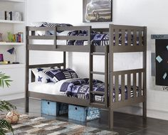 Get the most out of your space with our classic double bunk beds in a trendy slate grey finish. This twin over twin bunk bed features solid pinewood construction with a space saving fixed ladder. Mate