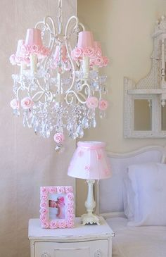 5-Light Antique White Chandelier with Pink Rose Shades
