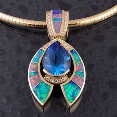 Australian opal inlay pendant with topaz and diamonds 3 by Australian opal jewelry. I'd love to have this