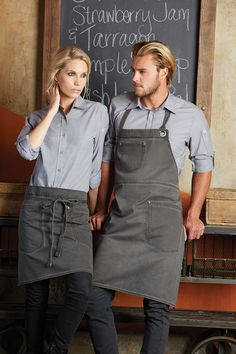 The Chambray shirts provide the perfect balance of professionality and trend-setting style by combining the respected formal shirt look with approachable and uplifting colour shades. We've added some extra finishing touches to the Chambray shirts; convenient roll back sleeves, a quick access functional pocket and some intriguing faux horn buttons. #foodie #food #yum #restaurant #cafe #eatery #menu #shirt #uniform