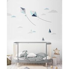 Our KITES set is a smart combination of 15 stickers that allows you to create an individual composition over any furniture in your kid's room. With this set you can arrange a cozy little corner or a space that is 150 cm. It's up to you because all the element can be placed however you want to! You can have fun with arrangement and that's why we decided to tone it down with colours 🙂 All shades of gray, navy blue, light blue and a little bit of mint is what's best for little boy's room…