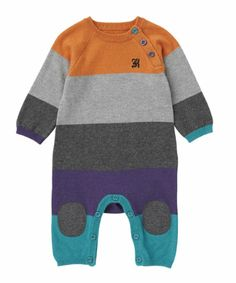 Designed with bold colours and colourful buttons, your little one will look adorable as well as keep cosy in the Baby K stripy knitted all in one.
