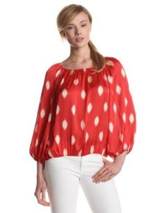 Vince Camuto Women's Waterdrops Peasant Blouse, True Rose, Medium Vince Camuto. $59.63
