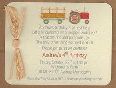 Red tractor baby shower invitation... Simple and cute!!! :)