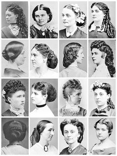 Vintage Hairstyles Victorian Hairstyles A collection of Victorian photographs ranging from 1855 - Edwardian Hairstyles Here [x] Victorian Era Hairstyles, Vintage Hairstyles, Cool Hairstyles, 1800s Hairstyles, Crimped Hairstyles, Steampunk Hairstyles, Wedding Hairstyles, Ponytail Hairstyles, Civil War Hairstyles