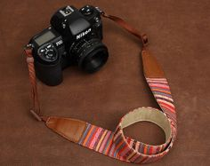 Handcrafted Bohemian series SLR Camera Strap Canon/Nikon Camera Strap DSLR Camera Strap---Stripes 7211