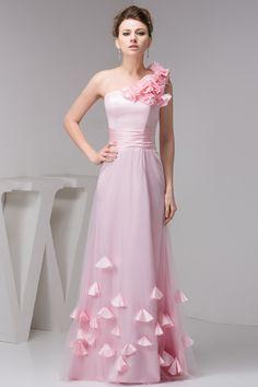 $145.99 A Line Princess One Shoulder Floor Length Charmeuse dress with Hand Made Flowers -Evening Dresses-DeniseDress