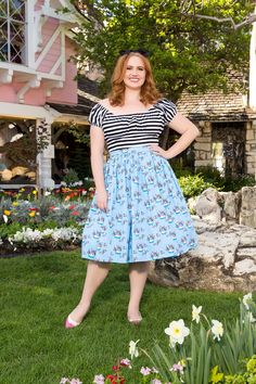 Pinup Couture Plus Size Jenny Skirt in Mary Blair Grey Cat Print | Pinup Girl…