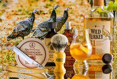 "Taylor of Old Bond St. cedarwood shave cream, Simpson badger brush, Morely 5/8"" straight razor, Sterling Coniferous aftershave, L'Occitane Baux cologne, November 22, 2016.  ©Sarimento1"