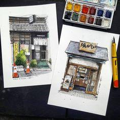 68 Ideas Drawing Art Ideas Sketches Urban Sketchers For 2019 Sketch Painting, Watercolor Sketch, Watercolor Illustration, Watercolor Paintings, Drawing Art, Watercolor Japan, Watercolors, Voyage Sketchbook, Art Sketchbook