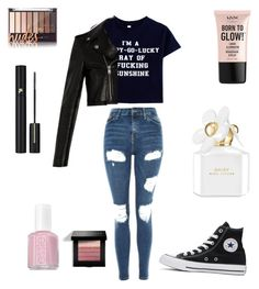 """Rockkk"" by maylenb ❤ liked on Polyvore featuring Topshop, Yves Saint Laurent, Converse, NYX, Marc Jacobs, Essie, Lancôme and Bobbi Brown Cosmetics"