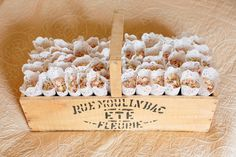 English Country Garden Wedding: Confetti in a basket - could work with an old wine crate