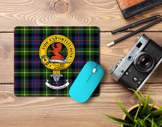 Rubber Mousemat with Farquharson clan crest and tartan - only from ScotClans