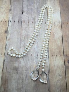 Freshwater Pearl Necklace  Long Lariat  Pearl Crystal Pendant Hand knotted Fresh Water Pearl Wedding Jewelry bridal necklace Real Pearls