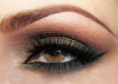 Schminkideen braun grüne Augen rosa bronze Lidstrich