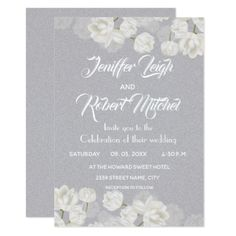 Elegant white and silver floral wedding card - wedding invitations cards custom invitation card design marriage party