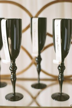 Glam wedding escort card idea - unique - black champagne flutes with paper scroll escort cards {Arte De Vie} Rehearsal Dinner Themes, Rehearsal Dinner Inspiration, Rehearsal Dinners, Wedding Inspiration, Wedding Ideas, Wedding Themes, Wedding Designs, Diy Wedding, Wedding Stuff