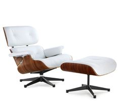 Eames Lounge Chair Replica, White with a BLACK BASE| Manhattan Home Design
