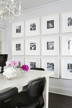 Picture wall. Gray walls crisp white pink accents