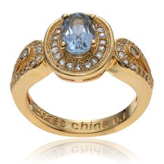 Journee Collection 14k Goldplated Blue Topaz CZ Accent Oval Ring
