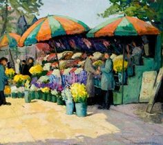 Virgina Wooley Flower Stalls Stalls, Paintings, Flowers, Collection, Art, Art Background, Paint, Painting Art, Kunst