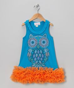 Love this Turquoise Owl Ruffle Dress - Infant, Toddler & Girls by The Princess and the Prince on #zulily! #zulilyfinds