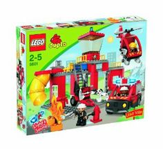 Lego Duplo 5601 Light and Sound Fire Station by LEGO. $115.00. Includes helicopter, slide, fire extinguisher and fire flames. 2 garages and drive through function. 72 pieces. 3 Duplo firemen figures and a dog. Fire vehicle with light and sound function. Brand new in the factory sealed box.