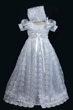 White Lace Overlay Christening Gown Baptism Gown by Caremour, $85.00