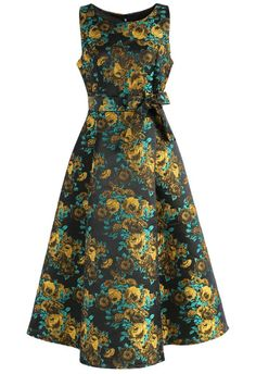 Engulfed in Roses Jacquard Prom Dress in Gold - New Arrivals - Retro, Indie and Unique Fashion