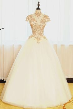 Lace appliqued ivory organza prom dress, high neck prom dress, ball gowns wedding dress