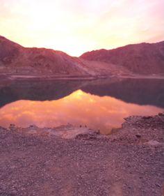 La puesta del sol en el Andes.