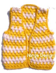 "Yellow Stripe Crochet Vest ~ **Free Crochet Pattern ~ This will be cute for an 18"" doll ~ Use a smaller hook**"