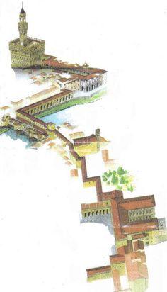 Vasari Corridor, 1566 | Cosimo d' Medici had Vasari build a corridor between his two palaces in Florence, Italy.