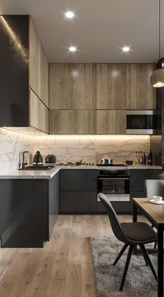 Contemporary style kitchen designs are among the methods to go. You do not require a complicated kitchen so it will be stick out, just some unique designs that can make your kitchen area the envy of the neighbors. Kitchen Room Design, Kitchen Cabinet Design, Modern Kitchen Design, Home Decor Kitchen, Interior Design Kitchen, Kitchen Layout, Kitchen Contemporary, Boho Kitchen, Kitchen Pantry