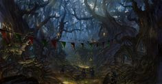 The forest Picture  (2d, illustration, forest, fantasy, village)