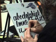 script lettering with a quill Steve Kafka's Lower Case Alphabet demo people love this guy's brushes.