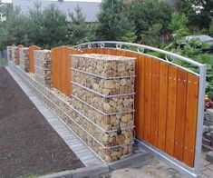 55 Fabulous Gabion Fence Design for Garden Landscaping Ideas - Front Yard Landscaping - Gabion Fence, Gabion Wall, Fencing, Privacy Fences, Bamboo Fence, Fence Planters, Patio Privacy, Brick Fence, Concrete Fence